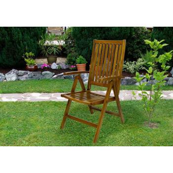 Dřevěná skládací židle, akátové dřevo, tmavě hnědá