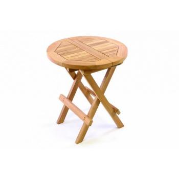 Menší dřevěný odkládací stolek kulatý, teakové dřevo
