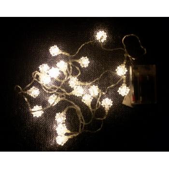 Vánoční dekorativní řetěz vnitřní, sněhové vločky, na baterie, 2 m