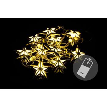 Vánoční řetěz do bytu- vnitřní, hvězdy, 20 LED diod, 1,85 m