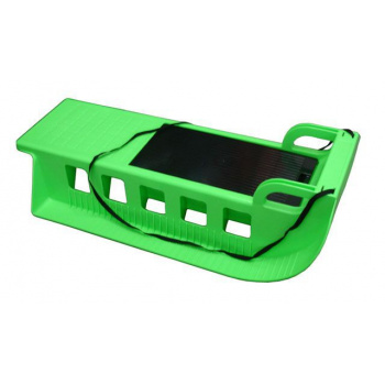 Dětské plastové sáňky s popruhem, úložný prostor, zelené