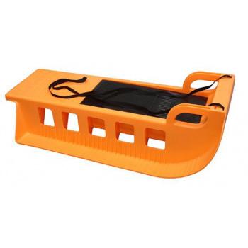 Dětské plastové sáňky s popruhem, úložný prostor, oranžové