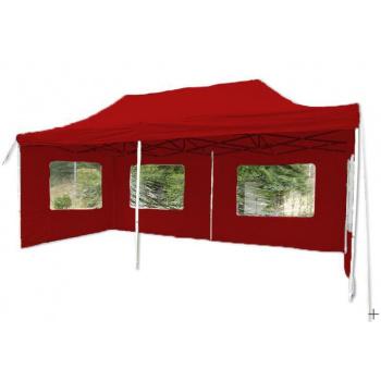Párty stan obdélníkový- nůžkový 3x6 m, vč. bočních stěn, červený
