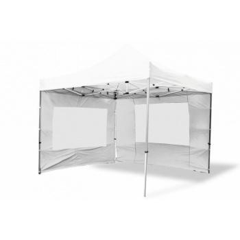 Nůžkový párty stan 3x3 m, 4 boční stěny s okny, bílý