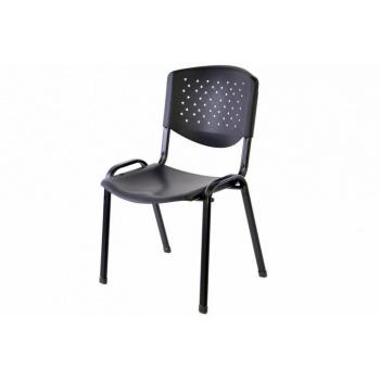 Kovová židle- plastový sedák a opěradlo, stohovatelná, černá