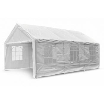 Zahradní stan- altán 4x6 m, kovová konstrukce, boční stěny s okny, bílý