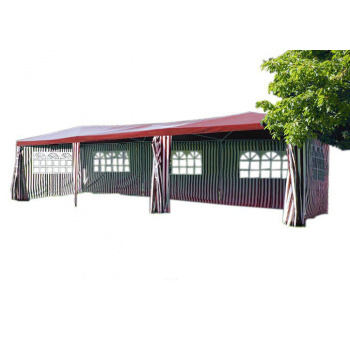 Velký zahradní stan 3x9 m, vč. bočních stěn s okny, červená / bílá