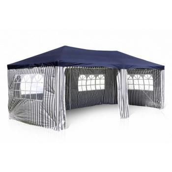 Zahradní párty stan PE 3x6 m, boční stěny s okny, modrá / bílá