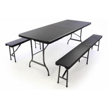 Pivní set stůl + lavice, kov / plast, ratanový vzhled
