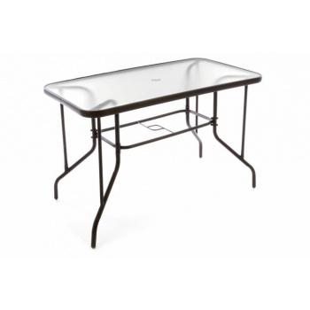 Kovový venkovní stolek se skleněnou deskou, obdélníkový