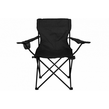 Kovová skládací židle s textilní výplní, s područkami, černá