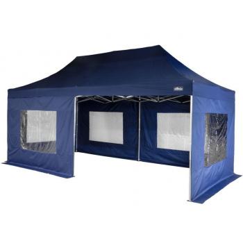 Zahradní párty stan nůžkový 3x6 m, boční stěny s okny, modrý