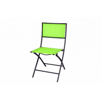 Skládací kovová židle s textilním sedákem a opěrkou, zelená