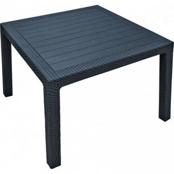 Zahradní stůl čtvercový, imitace ratanu, antracit