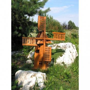 Dřevěný větrný mlýn- dekorace na zahradu, 75 cm