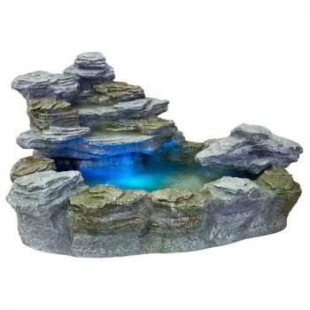 Dekorativní fontána / kašna s tekoucí vodou, osvětlená, kamenný vzhled
