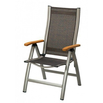 Textilní křeslo s kovovým rámem, polohovatelné, dřevěné područky