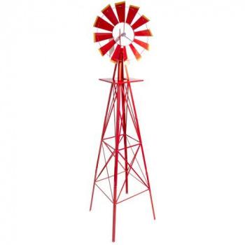 Velký kovový větrník- styl amerických rančů, červený, 245 cm