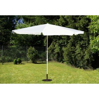 Velký slunečník na zahradu, sklápěcí, ruční klika, 4 m, bílý