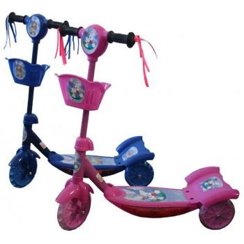 Dětská barevná koloběžka, 2 kolečka vzadu, růžová