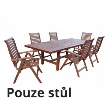Rozkládací dřevěný stůl na zahradu, obdélníkový, 180- 270 cm
