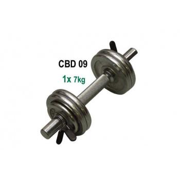 Jednoruční nakládací činka, chromované kotouče, 7 kg
