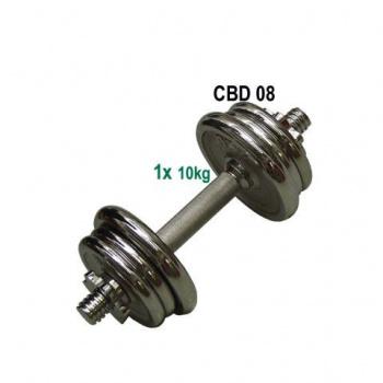 Jednoruční nakládací činka, chromované kotouče, 10 kg