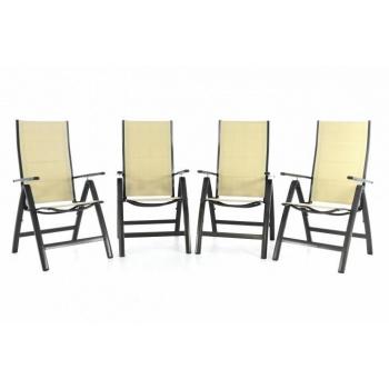 4 ks sklápěcí zahradní židle s područkami, textilní výplň, krémová