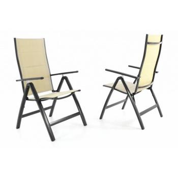 2 ks sklápěcí zahradní židle s područkami, textilní výplň, krémová