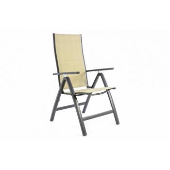Hliníková zahradní židle s prodyšným potahem, skládací, béžová