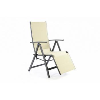 Skládací zahradní židle s podložkou pod nohy, krémová