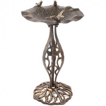 Kovová zahradní dekorace- napajedlo pro ptáky, bronzový vzhled