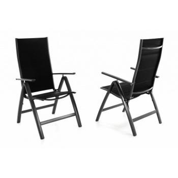 2 ks hliníková židle s prodyšným potahem, nastavitelné opěradlo, černá