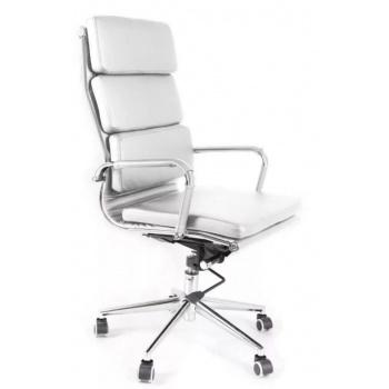 Designová otočná kancelářská židle, ekokůže / chrom