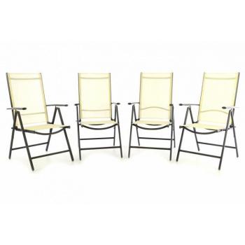 4 ks hliníková skládací venkovní židle, prodyšný potah, krémová