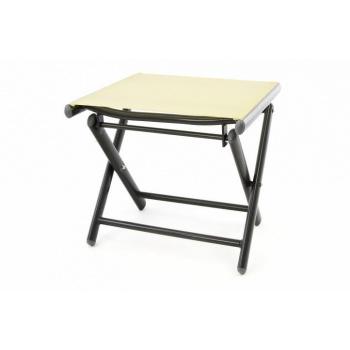Skládací kovová stolička s textilním potahem, krémová