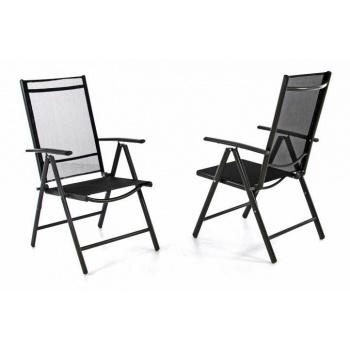 2 ks hliníková zahradní židle s prodyšným potahem, skládací, černá