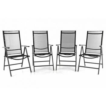 4 ks zahradní hliníková židle s nastavitelnou opěrkou, černá