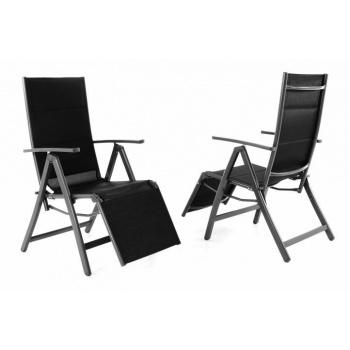 2 ks skládací zahradní židle / křeslo, potah z textilie, černá