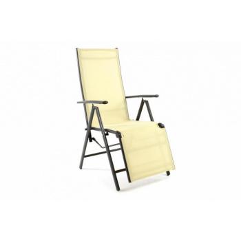 Skládací zahradní židle / lehátko, potah z textilie, krémová