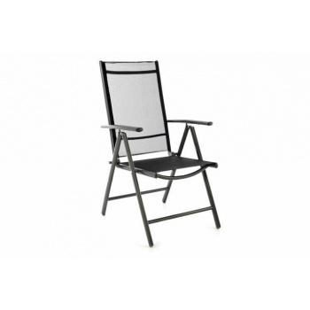 Hliníková židle s prodyšným textilním potahem, nastavitelná, černá