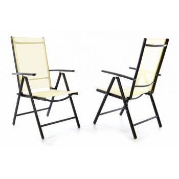 2 ks elegantní zahradní židle s textilním potahem, polohovatelná, krémová