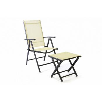 Elegantní polohovatelná zahradní židle, vč. stoličky pod nohy krémová
