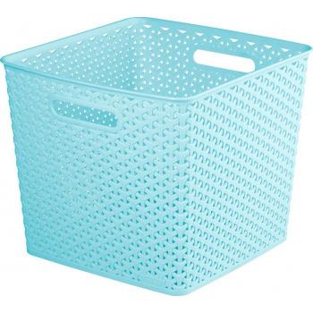 Plastový úložný koš s úchyty, 32,5 x 32,5, modrý