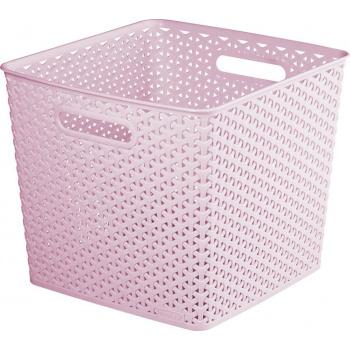Plastový úložný koš s úchyty, 32,5 x 32,5, růžový