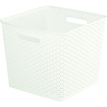 Plastový úložný koš s úchyty, 32,5 x 32,5, krémový