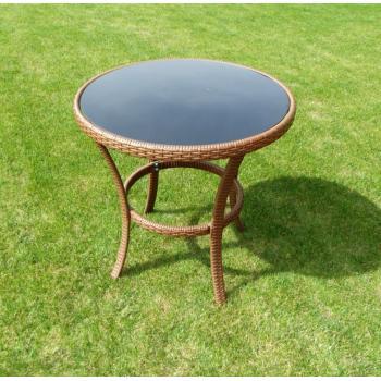Menší kulatý stolek na balkon / terasu, ratanový vzhled, hnědý