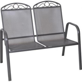 Kovové dvojkřeslo z tahokovu, nosnost 2x90 kg, tmavě šedé