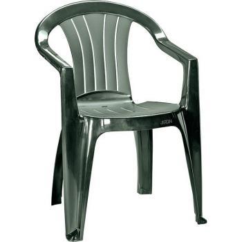 Plastová zahradní židle, klasický vzhled, tmavě zelená
