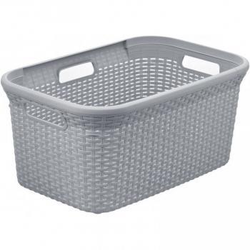 Plastový prádelní koš nízký, s úchyty, 45 l, šedý